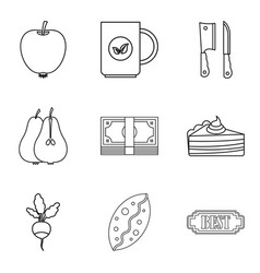 Dietary baking icons set outline style vector