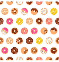Doodle donuts pattern on white background vector