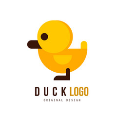 Duck logo original design badge with yellow toy vector