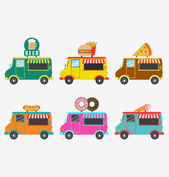 fast food trucks set of street shops on van vector image