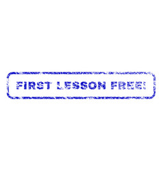 First lesson free exclamation rubber stamp vector
