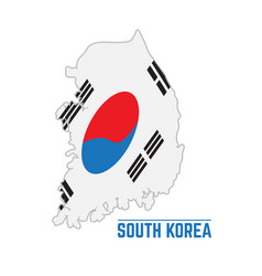 Flag and map of south korea vector