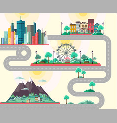 Flat design of modern city mountains landscae vector
