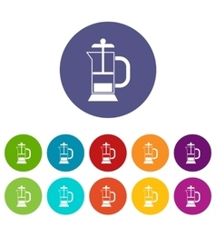 French press coffee maker set icons vector