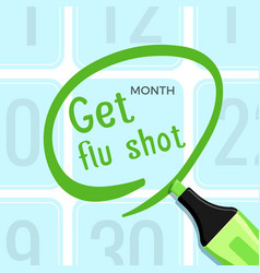 get flu shot poster with headline title vector image