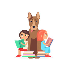 Girl and boy sits on two pile of books with dog vector