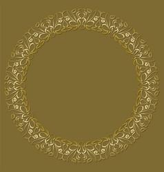 golden circle frame on dark golden background vector image