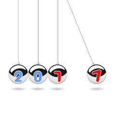 Happy new year 2017 pendulum balls vector