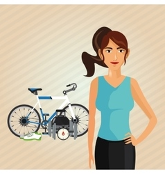 Healthy lifestyle cartoon woman design vector image