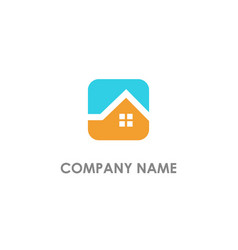 Home realty square logo vector