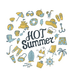 hot summer round pattern vector image