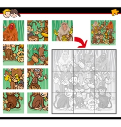 jigsaw puzzle with monkeys vector image