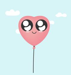 kawaii heart balloon vector image