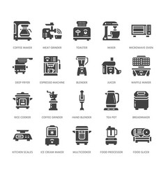 Kitchen small appliances flat glyph icons vector