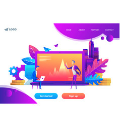 Landing page template business concept vector