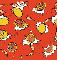 lemon fresh pop art pattern modern juicy citrus vector image