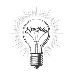 light bulb with wording new idea in engraving vector image