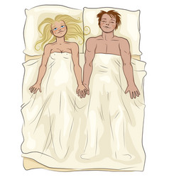 Loving couple lying in bed vector