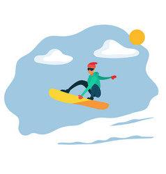 man riding on snowboard extreme winter sport vector image