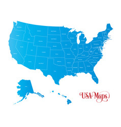 map of the united states of america with states vector image