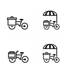 mobile food bicycle icons vector image