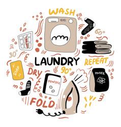Modern laundry doodle housework machine wash vector