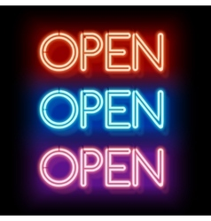 Neon word entry Open vector