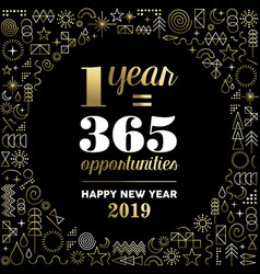 New year 2019 inspiration quote poster gold vector