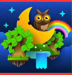 night fairy forest moon in the sky with a vector image