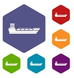 Oil tanker ship icons set vector image