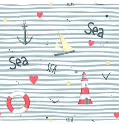 Pattern sailboat lifebuoy anchor lighthouse vector image