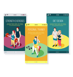 personal trainer isometric mobile screens vector image