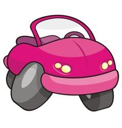 Pink cartoon car vector