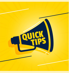 Quick tips background with megaphone design vector