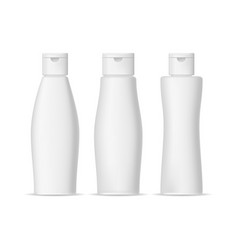 realistic detailed 3d shampoo bottles set vector image