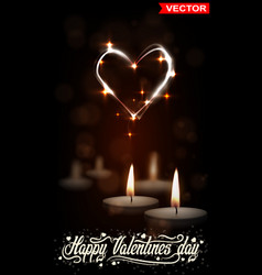 Realistic valentines day candles with shiny heart vector