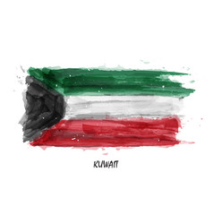Realistic watercolor painting flag of kuwait vector