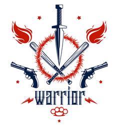 Revolution and war emblem with dagger knife vector