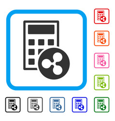Ripple calculator framed icon vector