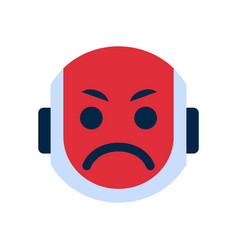 Robot face icon angry face emotion robotic emoji vector