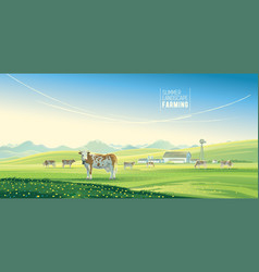 Rural landscape with cows and farm with mountain vector