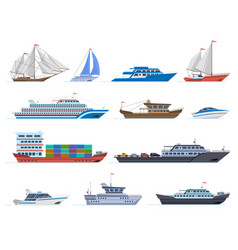 sailboat ships sea transportation boats cargo vector image