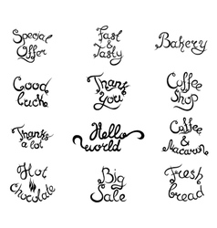 Set 4 of curly lettering phrases for coffee shop vector