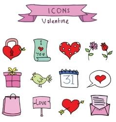 Set element valentine days art vector