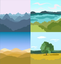 Set of 4 images Landscapes vector