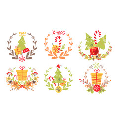 Set of nice christmas badges on white background vector