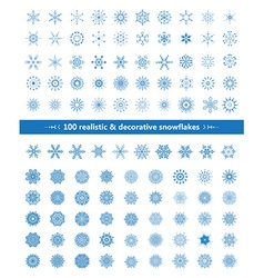 Set of realistic and decorative snowflakes blue on vector