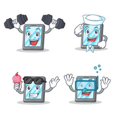 Set of tablet character with fitness sailor ice vector