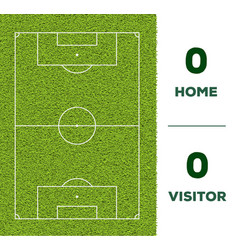 soccer line game score display and green grass vector image