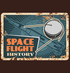 Space flight history rusty metal plate vector